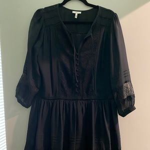 Joie Black Silk Dress with Lace Detail